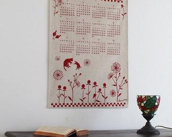 Linen fabric calendar 2016