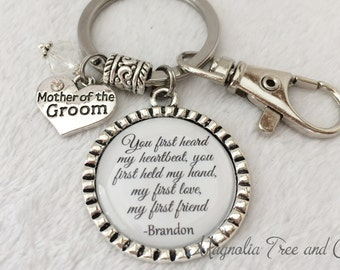 Mother of the GROOM, Mother of BRIDE Keychain or Necklace, Personalized Bridal Gift, Parents Gift, Pendant, Wedding Keepsake, M19