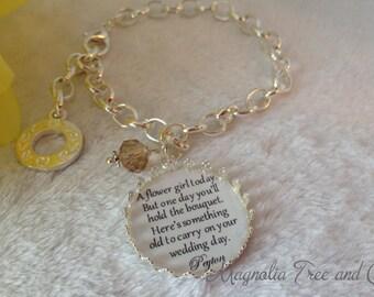 Flower girl bracelet, bridesmaid bracelet, bridal pendant charm, flowergirl gift, personalized, custom made, bouquet charm, One Day... KE04