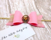 M2M Made to Match Well Dressed Wolf Princess of Monaco Felt Bow with Gold Tulle, Pink and Gold, Headband or Clip