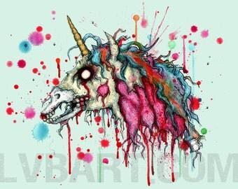 Zombie Unicorn Fine Art Print