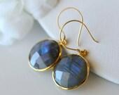 VALENTINE Sale Round Violet Flash Labradorite Drop Earrings, Coin Shaped, Grey Gemstone, Round Dangle, Flash Labradorite Jewelry