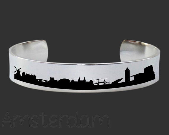 Amsterdam Skyline | Cityscape Jewelry | Skyline Jewelry | Skyline Bracelet | Cityscape Bracelet | Friend Gift | Travel Gift | Map Jewelry