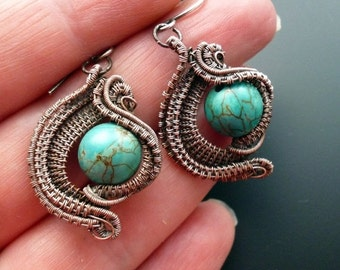 ON SALE Wire wrapped turquoise earrings, unique silver wirework jewelry