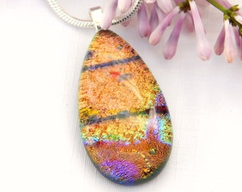 Golden and Mixed Dichroic Glass Droplet Pendant - Fused Glass Necklace - Art Glass Jewelry
