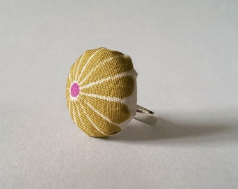 Green Flower Fabric Ring, Retro Green and Pink Flower Silver Ring