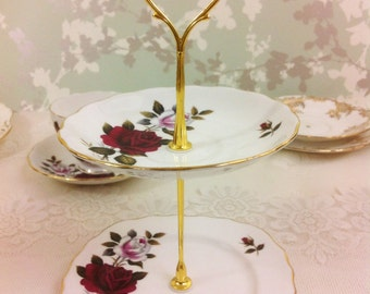 Red and White Rose 2 Tier Mini Cake Stand, Colclough