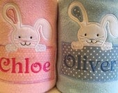 Personalised Easter bunny baby blanket  for girl or boy gift christening New baby any name embroidered girls boys pink and blue bunny rabbit