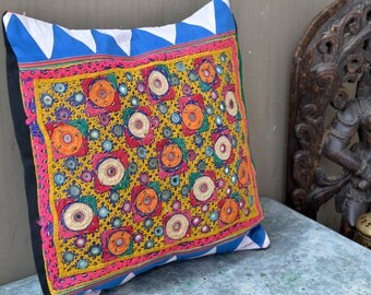 Indian embroidered Kantha vintage cushion cover with mirrors and crewel stitching gypsy folk decor