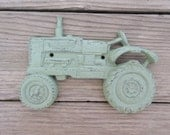Tractor Sage Green Distressed Cast Iron Wall Hanging Vintage