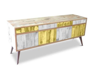 Retro Modern Mid Century Industrial Recycled Shabby Chic Country Farmhouse Sideboard / Buffet / Entertainment Unit Checkered Yellow & White