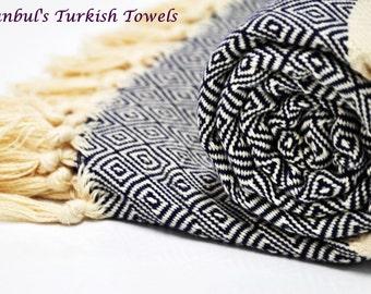 SALE 50% OFF Diamond Istanbul's Turkish BATH Towel Peshtemal - Navy - Bath, Beach, Spa, Swim, Pool Towels - Wedding Gift ,Fouta, Pestemal
