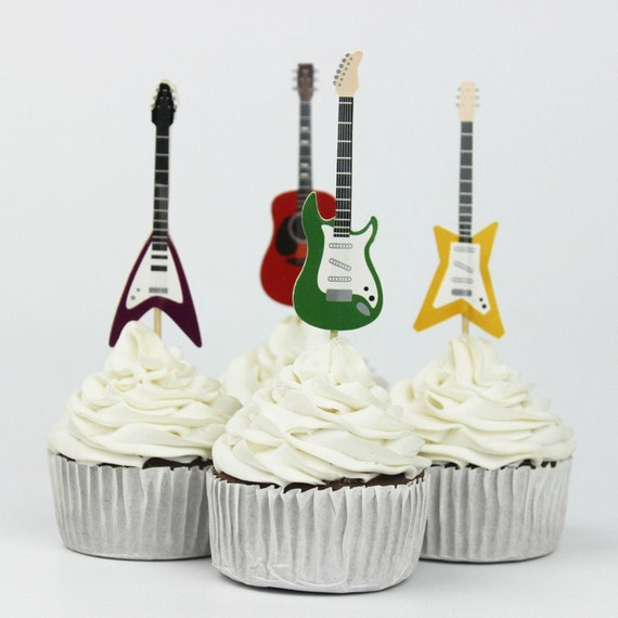 72pcs Guitar Party Supplies Cartoon Cupcake Toppers Pick