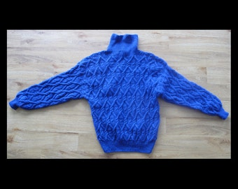 Vintage handknit long sleeved pullover, royal blue cable knit pattern, ladies size M