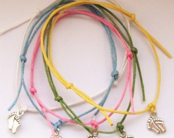 5 Baby Feet Charm Friendship Bracelets - Baby Shower Party Bags