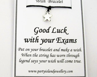 GOOD LUCK With Your EXAMS Star Friendship Wish Bracelet with Wish Message Card - Choose Colour