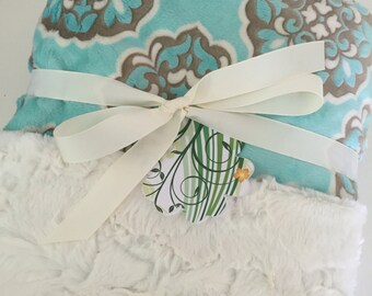 Minky Cuddle Blanket Cuddle Baby Gift Shower in light turquoise damask Minky Blanket