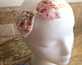 Floral Print Large Girls/Women Fabric Hair Bow Headband, Baby Girl Hair Bow, Women Hair Bow, Girls Hair Bow Headband, Toddler Girl Hair Bow