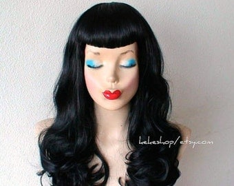 Custom wig. U shaped bangs wig. Pin-up bangs. Black wig. Durable heat friendly wig for daily use or Cosplay.