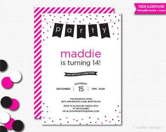 Teen Birthday Invitation Teen Invitation Slumber Party Sleepover Invitation Girls Birthday Girls Invitation Confetti Pennants Choose Colors