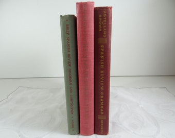 Vintage 1940s  Set of 3 Learn Spanish and Spanish Grammar Books