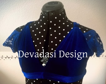 stretch velvet Choli dropped shoulder size S in electric blue, with lace sleeves, sweetheart neck