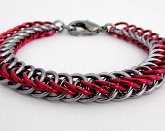 Red and Dark Silver / Gunmetal Chainmaille Bracelet - Nickel Free Chain Bracelet for Men and Women - Handmade Chainmail