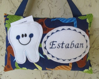 Tooth Fairy Pillow Personalized Dinosaur Navy