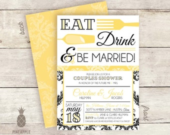 Eat, Drink, & Be Married Couples Shower Invitations