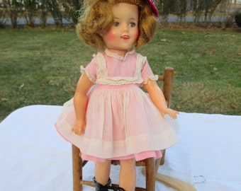 Shirley Temple Doll 12 in Ideal High Color Clear Eyes Teeth Pink Pinafore Dress