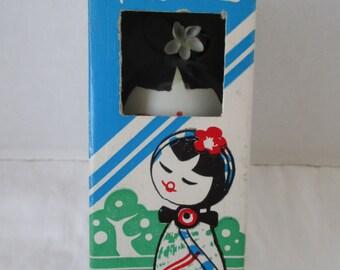 Japanese Kokeshi Art Doll made of Shell in Box Souvenir
