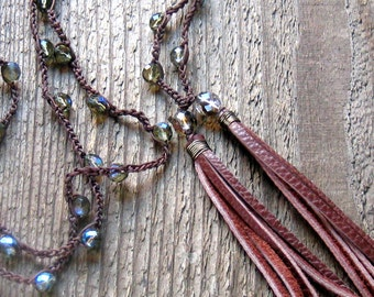 Crochet Leather Tassel Necklace Long Necklace Layering Necklace Bohemian Jewelry