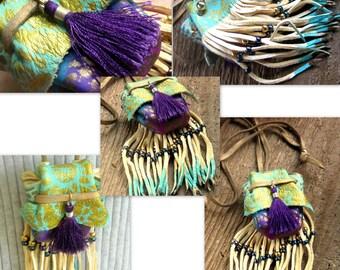 Bohemian Leather Medicine Bag Necklace