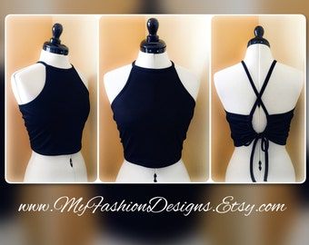 Adjustable and halter crop top