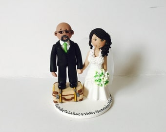 Short groom and tall bride personalised wedding cake topper - Groom stood on a suitcase travel theme wedding cake topper