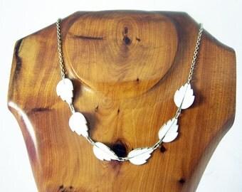 Vintage Guilloche Leaf Necklace, Silver Enamel Necklace, White Leaves , Scandinavian Necklace, Enamel Choker, White Necklace