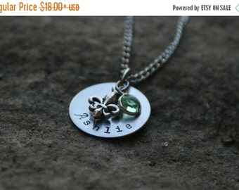 25% OFF Hand Stamped Necklace Fleur De Lis Necklace and Birthstone
