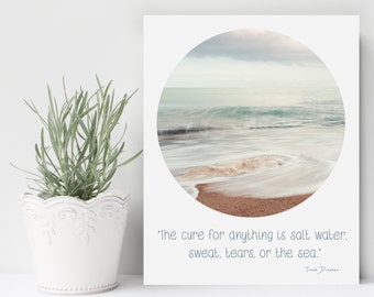 Bathroom Wall Art, Salt Water Quote, Isak Dinesen Quote, Bathroom Decor, Typography Print, Beach Quote Decor,  Gift ideas for her