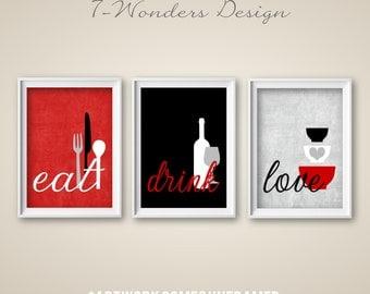 Kitchen Wall Art Print Set   Eat Drink Love   Red, Grey, Black,