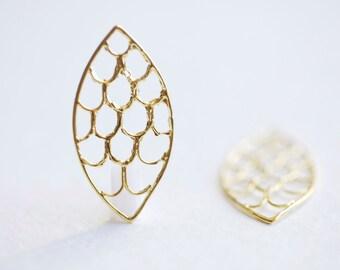 Vermeil Gold Chandelier Leaf Earring Frame or Connector- 2pcs, 18k gold plated over sterling silver, open leaf shape earring findings