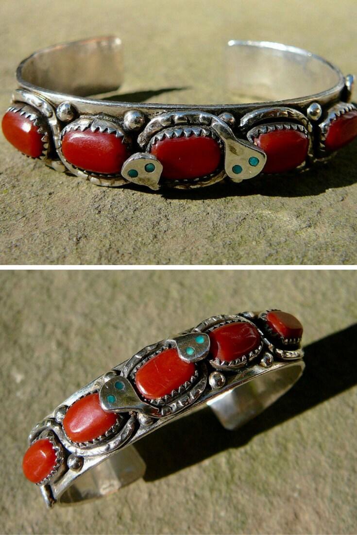 Silver Snake Bracelet, Native American Coral Bracelet