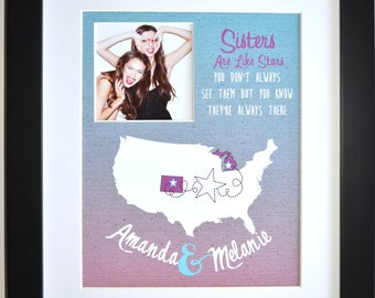 Best Friend Gift Ideas, Custom Birthday Present Moving Away Gift Personalized Friendship Quote Sister Keepsake Photo gift Long Distance Maps