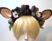 Faun Ears Headband with Dark Purple Flowers / Handmade Costume Accessory / Felt and Faux Fur