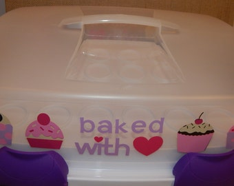 Baked with Love Decorated Cupcake Carrier