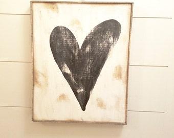 Black heart rustic wood sign
