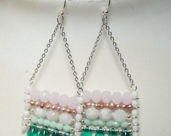 Swing Earrings with Pearls, Moonstone, Rose Quartz, Semiprecious Stone Earrings, Dangle Earrings