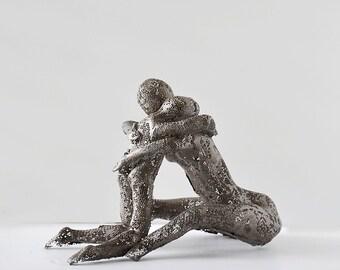 Contemporary art, metal sculpture, Mother and son hug, Unique home decor, Wire mesh sculpture