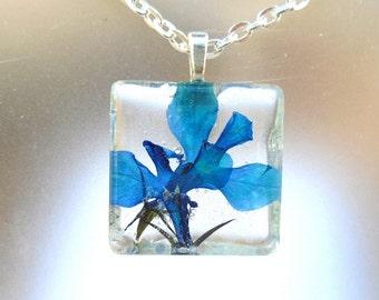 Lobelia Real Pressed Flower Glass Square Necklace
