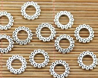 120pcs tibetan silver tone 11mm round frame charms EF1913