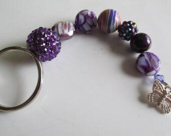 Purple Beaded Key Chain